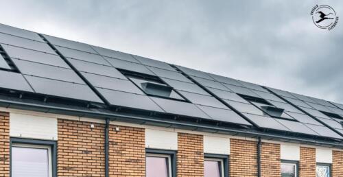 Schuin dak vol zonnepanelen en warmtepomp